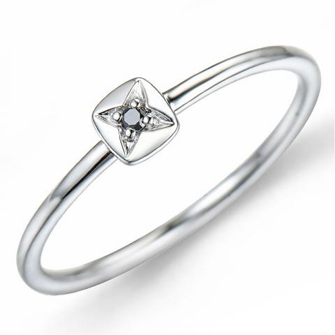 Svart diamant ring i 9 karat hvitt gull 0,01 ct