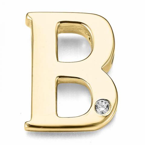 Bokstav b diamant anheng i 9 karat gull 0,01 ct