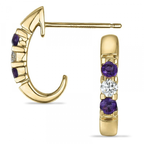 Ametyst diamantøredobb i 9 karat gull med diamanter og ametyster