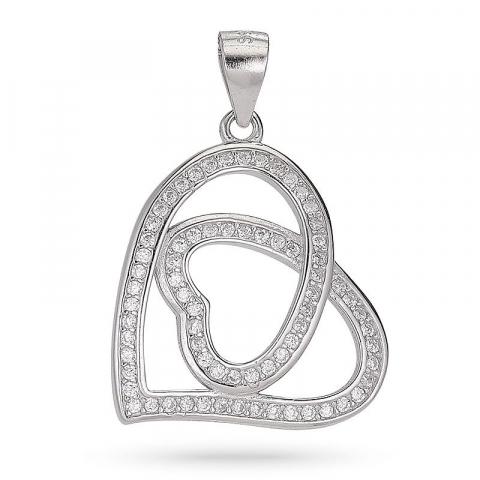 Kolleksjonsprøve hjerte zirkon anheng i sølv