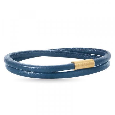 Rund blå armbånd i lær med forgylt stållås  x 4 mm