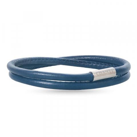 Rund blå armbånd i lær med stållås  x 4 mm