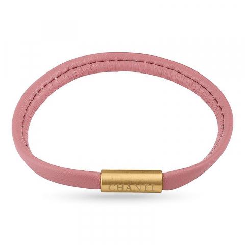 Flat rosa magnetarmbånd i lær med forgylt stållås  x 6 mm