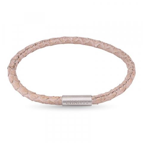 Rund beige slangearmbånd i lær med stållås  x 4 mm