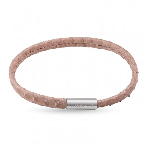 Flat beige slangearmbånd i lær med stållås  x 6 mm