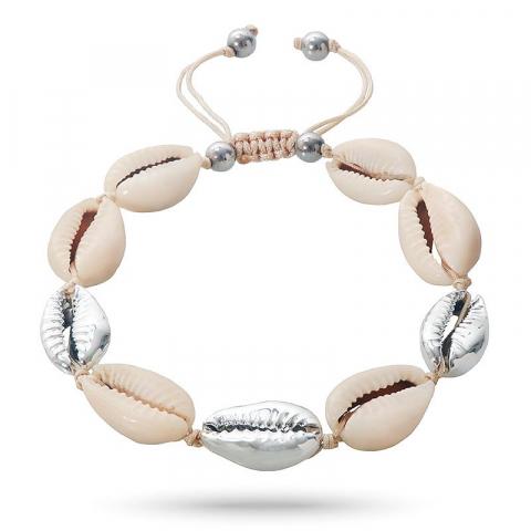 Fin shell musling armbånd i silke snor 17 cm plus 4 cm x 12 mm