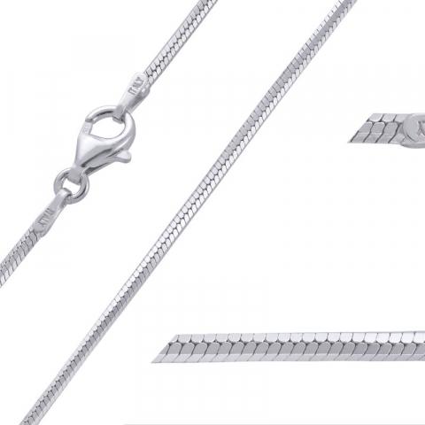 Simpel slangehalskjede i rodinert sølv 38 cm x 1,6 mm
