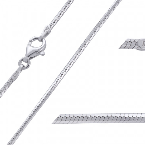 Tøft kort slangehalskjede i rodinert sølv 45 cm x 1,6 mm