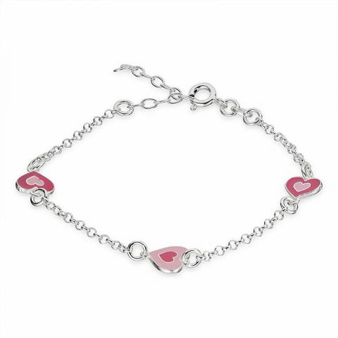 Flott hjerte armbånd i sølv med hjerteanheng i sølv
