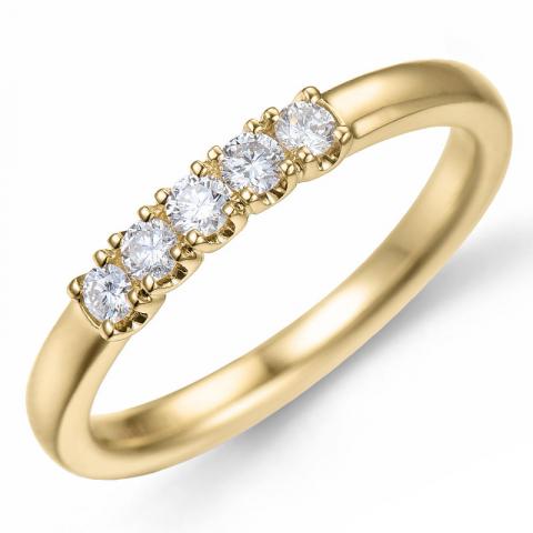 Diamant alliansering i 14 karat gull 0,21 ct