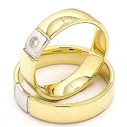 Gifteringer i 14 karat gull og hvitt gull 0,05 ct - par