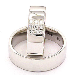 Bredde gifteringer i 14 karat hvitt gull 0,149 ct - par