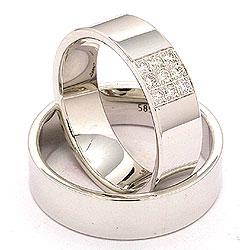 Vakre gifteringer i 14 karat hvitt gull 9 x 0,149 ct - par