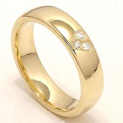 Bred hjerte giftering i 14 karat gull 0,075 ct