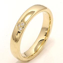 Klassisk hjerte giftering i 14 karat gull 0,03 ct