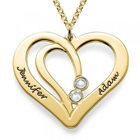 Hjerte navnehalskjede  i forgylt sølv med 2 hvite zirkoner