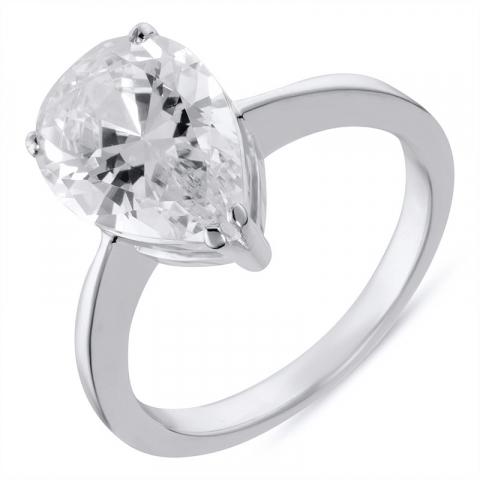 Dråpe ring i rodinert sølv
