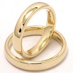 Blanke  ovale gifteringer i 14 karat gull - par