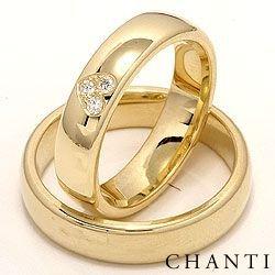 Hjerte gifteringer i 14 karat gull 0,075 ct - par