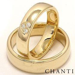 Brede hjerte gifteringer i 14 karat gull 0,075 ct - par