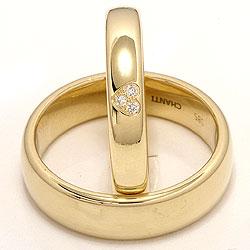 Klassiske hjerte gifteringer i 14 karat gull 0,03 ct - par