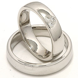 Elegant hjerte gifteringer i 14 karat hvitt gull 0,075 ct - par