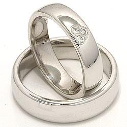 Brede hjerte gifteringer i 14 karat hvitt gull 0,075 ct - par