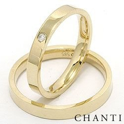 Smale flate diamant gifteringer i 14 karat gull 0,025 ct - par