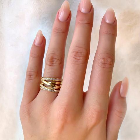 Blank zirkon fingerring i forgylt sølv