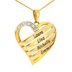 Hjerte navnehalskjede  i 9 karat gull
