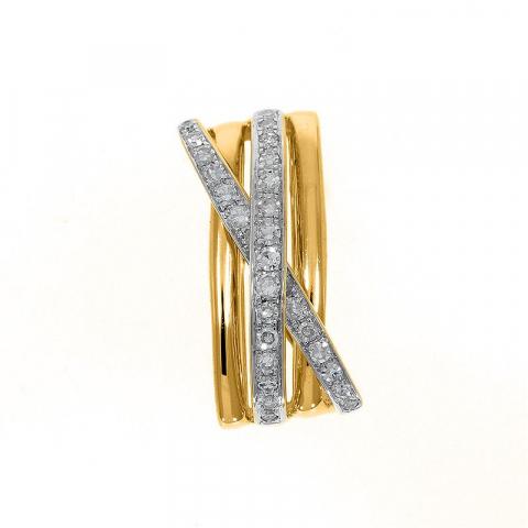 Abstrakt diamant anheng i 14 karat gull 0,18 ct
