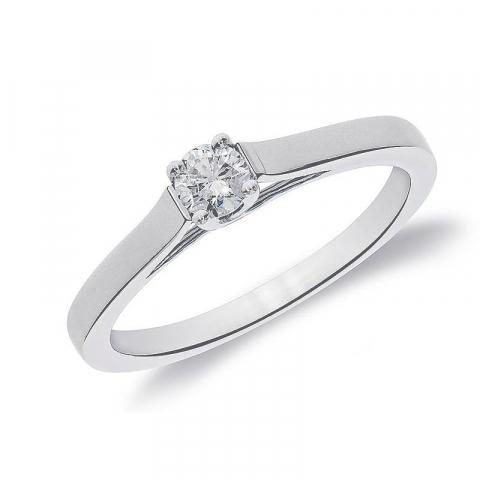 Ekte diamantring i 14 karat hvitt gull 0,10 ct