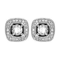 Firkantet diamant ørestikker i 14 karat hvitt gull med diamanter