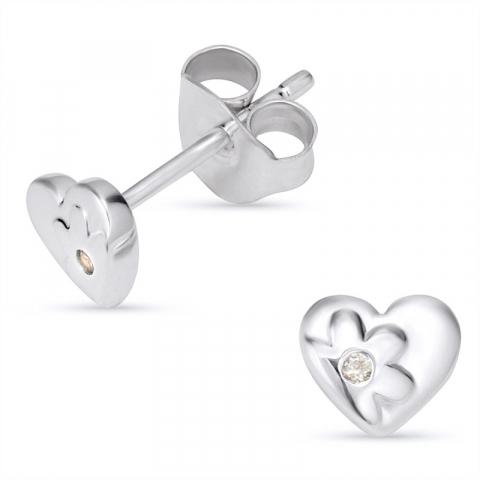 Hjerte zirkon øredobber i sølv