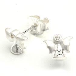 Matt engel hvite zirkon ørestikker i sølv