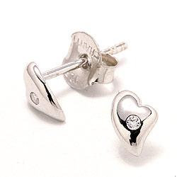 Hjerte hvite zirkon ørestikker i sølv