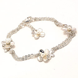 Blomst hvit perle armbånd i sølv med anheng i sølv