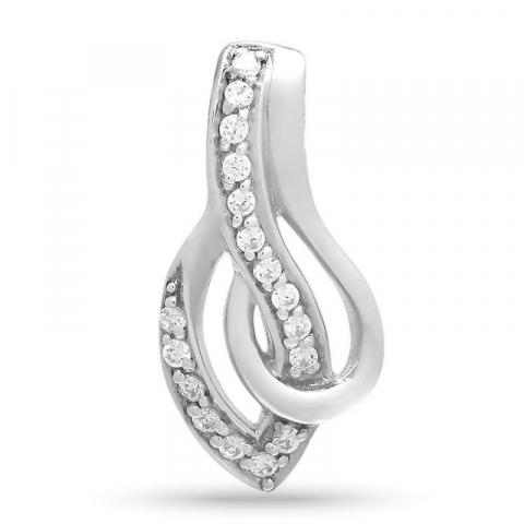 Elegant abstrakt zirkon anheng i sølv