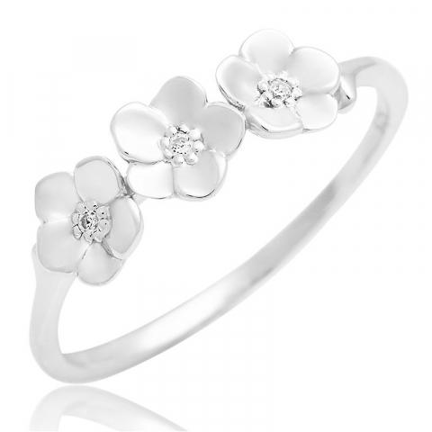 Vakker blomst zirkon ring i sølv