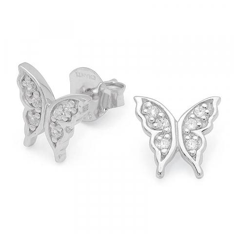 Søte sommerfugl zirkon ørestikker i sølv