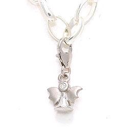 Flott engel zirkon charm i sølv