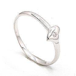 Søt hjerte ring i sølv