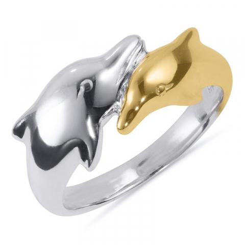 Pen delfin ring i sølv med 8 karat