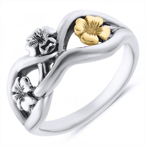 Vakker blomst ring i oksidert sterlingsølv med 8 karat
