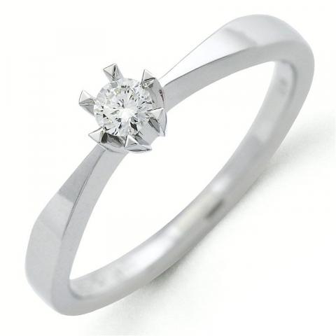 kampanje - diamant ring i 14 karat hvitt gull 0,10 ct
