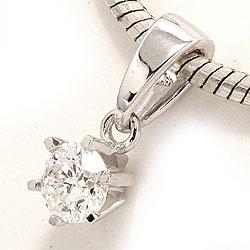 Søtt diamant anheng i 14 karat hvitt gull 0,20 ct