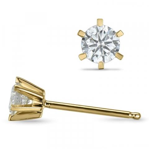 liten diamant ørestikker i 14 karat gull med diamant