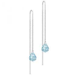 Julie Sandlau lange krystall øredobber i satengrhodinert sterlingsølv blå krystaller