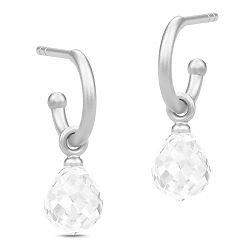 Nydelige Julie Sandlau dråpeformet halvcreol i satengrhodinert sterlingsølv hvite krystaller