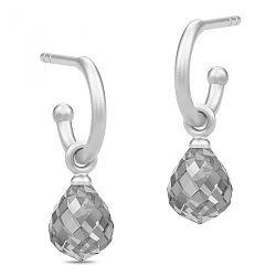 Søte Julie Sandlau dråpeformet halvcreol i satengrhodinert sterlingsølv grå krystaller
